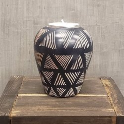 Soapstone Black Dash Taper Tea Light Candle Holder