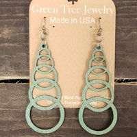 Earring Ascending Circle Green