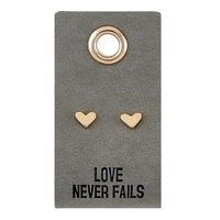 Leather Tag Earrings- Heart