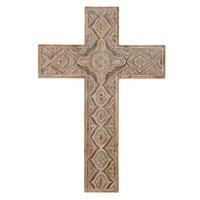 Cross Wall Wood Carved 18""