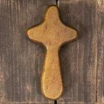 Cross Hand Held Dark Wood
